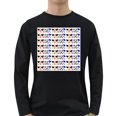 A Creative Colorful Background With Hearts Long Sleeve Dark T-Shirts