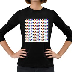 A Creative Colorful Background With Hearts Women s Long Sleeve Dark T Shirts