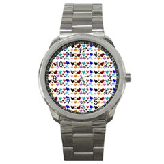 A Creative Colorful Background With Hearts Sport Metal Watch