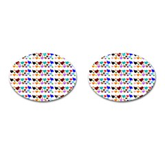 A Creative Colorful Background With Hearts Cufflinks (oval)