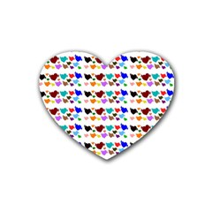 A Creative Colorful Background With Hearts Rubber Coaster (Heart)