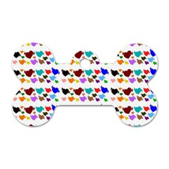 A Creative Colorful Background With Hearts Dog Tag Bone (Two Sides)