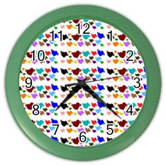 A Creative Colorful Background With Hearts Color Wall Clocks