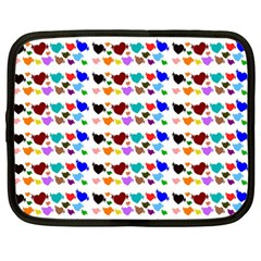 A Creative Colorful Background With Hearts Netbook Case (Large)