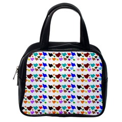 A Creative Colorful Background With Hearts Classic Handbags (One Side)