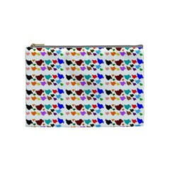 A Creative Colorful Background With Hearts Cosmetic Bag (Medium)