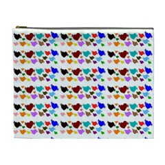 A Creative Colorful Background With Hearts Cosmetic Bag (XL)
