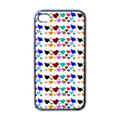 A Creative Colorful Background With Hearts Apple iPhone 4 Case (Black)