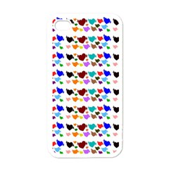 A Creative Colorful Background With Hearts Apple Iphone 4 Case (white)