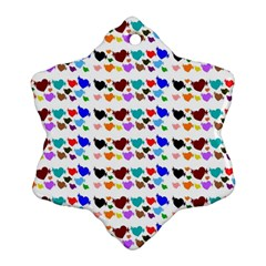 A Creative Colorful Background With Hearts Snowflake Ornament (two Sides)