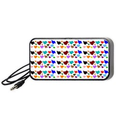 A Creative Colorful Background With Hearts Portable Speaker (Black)