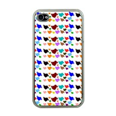 A Creative Colorful Background With Hearts Apple iPhone 4 Case (Clear)