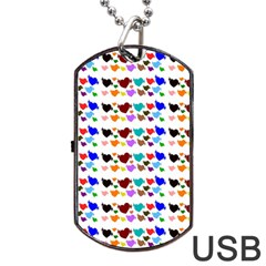 A Creative Colorful Background With Hearts Dog Tag USB Flash (One Side)
