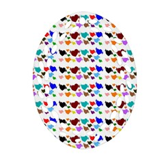 A Creative Colorful Background With Hearts Oval Filigree Ornament (two Sides)