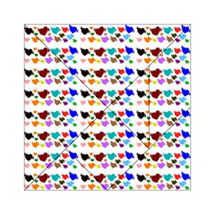 A Creative Colorful Background With Hearts Acrylic Tangram Puzzle (6  x 6 )