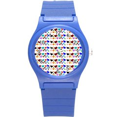 A Creative Colorful Background With Hearts Round Plastic Sport Watch (S)