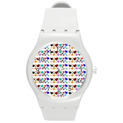 A Creative Colorful Background With Hearts Round Plastic Sport Watch (m)