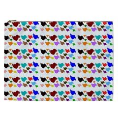 A Creative Colorful Background With Hearts Cosmetic Bag (xxl)