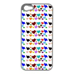 A Creative Colorful Background With Hearts Apple Iphone 5 Case (silver)