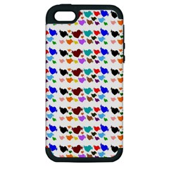 A Creative Colorful Background With Hearts Apple iPhone 5 Hardshell Case (PC+Silicone)