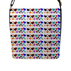 A Creative Colorful Background With Hearts Flap Messenger Bag (l)