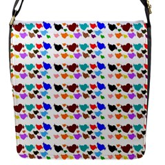 A Creative Colorful Background With Hearts Flap Messenger Bag (S)