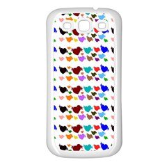 A Creative Colorful Background With Hearts Samsung Galaxy S3 Back Case (white)