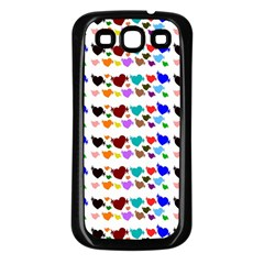 A Creative Colorful Background With Hearts Samsung Galaxy S3 Back Case (Black)