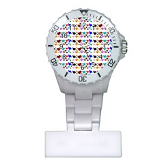 A Creative Colorful Background With Hearts Plastic Nurses Watch
