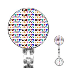 A Creative Colorful Background With Hearts Stainless Steel Nurses Watch