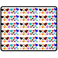 A Creative Colorful Background With Hearts Double Sided Fleece Blanket (Medium)