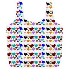 A Creative Colorful Background With Hearts Full Print Recycle Bags (l)