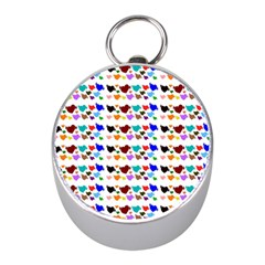 A Creative Colorful Background With Hearts Mini Silver Compasses