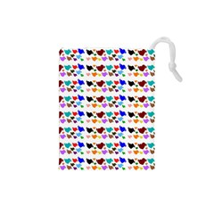 A Creative Colorful Background With Hearts Drawstring Pouches (Small)