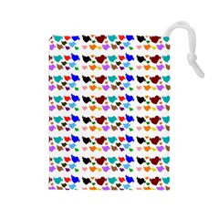 A Creative Colorful Background With Hearts Drawstring Pouches (Large)