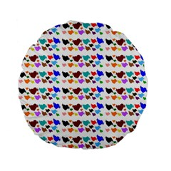 A Creative Colorful Background With Hearts Standard 15  Premium Flano Round Cushions