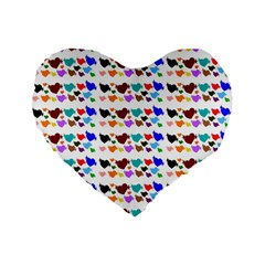 A Creative Colorful Background With Hearts Standard 16  Premium Flano Heart Shape Cushions