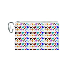 A Creative Colorful Background With Hearts Canvas Cosmetic Bag (S)