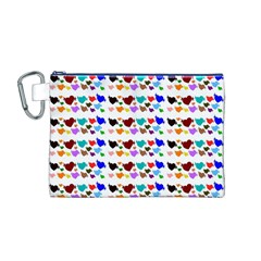 A Creative Colorful Background With Hearts Canvas Cosmetic Bag (M)