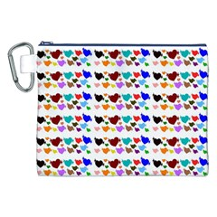 A Creative Colorful Background With Hearts Canvas Cosmetic Bag (xxl)