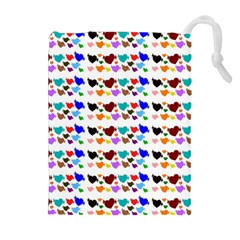 A Creative Colorful Background With Hearts Drawstring Pouches (Extra Large)
