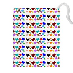 A Creative Colorful Background With Hearts Drawstring Pouches (XXL)