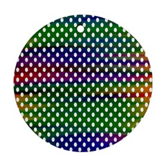 Digital Polka Dots Patterned Background Ornament (round)