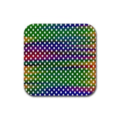 Digital Polka Dots Patterned Background Rubber Square Coaster (4 Pack)