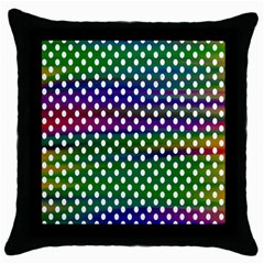 Digital Polka Dots Patterned Background Throw Pillow Case (Black)