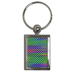 Digital Polka Dots Patterned Background Key Chains (rectangle)