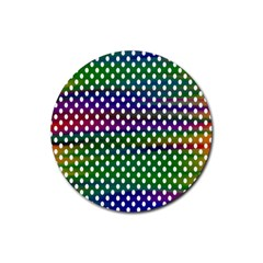 Digital Polka Dots Patterned Background Rubber Coaster (Round)