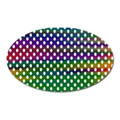 Digital Polka Dots Patterned Background Oval Magnet