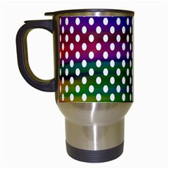 Digital Polka Dots Patterned Background Travel Mugs (white)