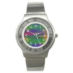 Digital Polka Dots Patterned Background Stainless Steel Watch